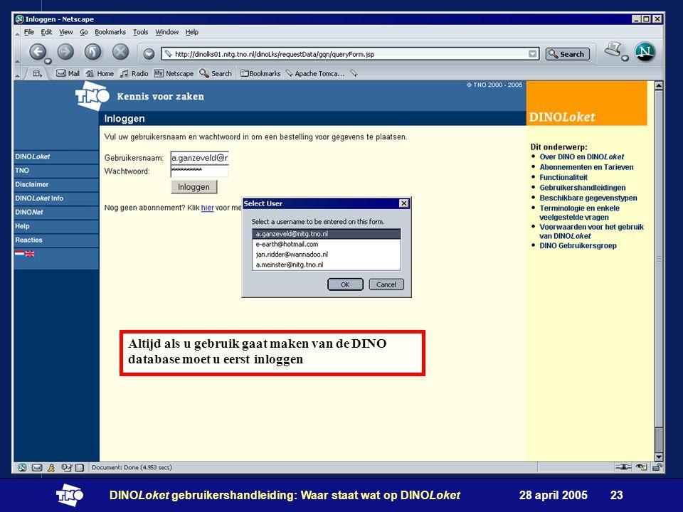 28 april 2005DINOLoket gebruikershandleiding: Waar staat wat op DINOLoket23 Altijd als u gebruik gaat maken van de DINO database moet u eerst inloggen