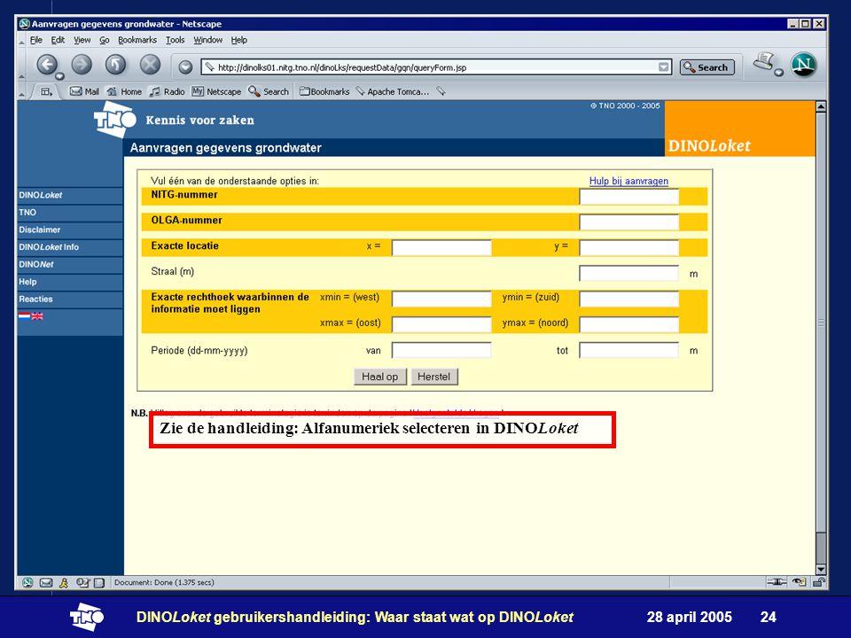 28 april 2005DINOLoket gebruikershandleiding: Waar staat wat op DINOLoket24 Zie de handleiding: Alfanumeriek selecteren in DINOLoket