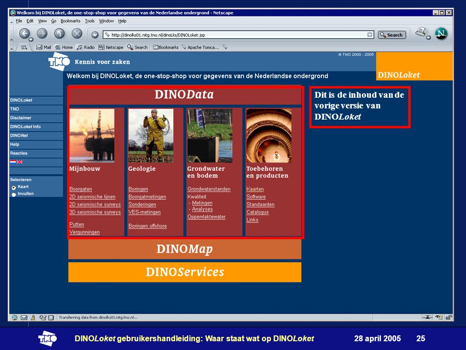 28 april 2005DINOLoket gebruikershandleiding: Waar staat wat op DINOLoket25 Dit is de inhoud van de vorige versie van DINOLoket
