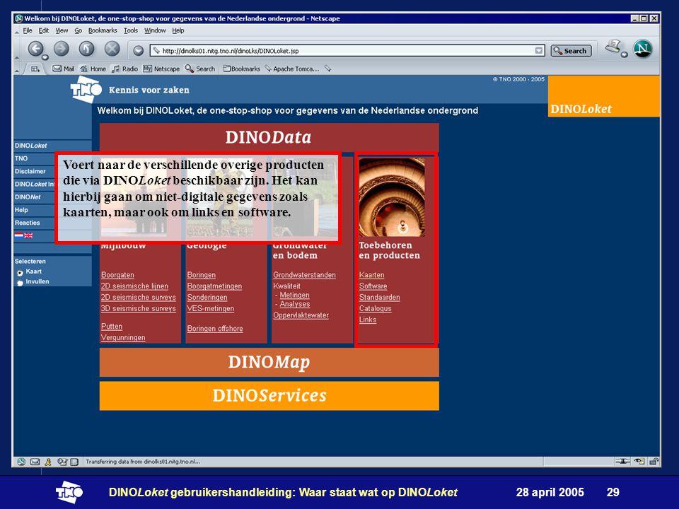28 april 2005DINOLoket gebruikershandleiding: Waar staat wat op DINOLoket29 Voert naar de verschillende overige producten die via DINOLoket beschikbaar zijn.