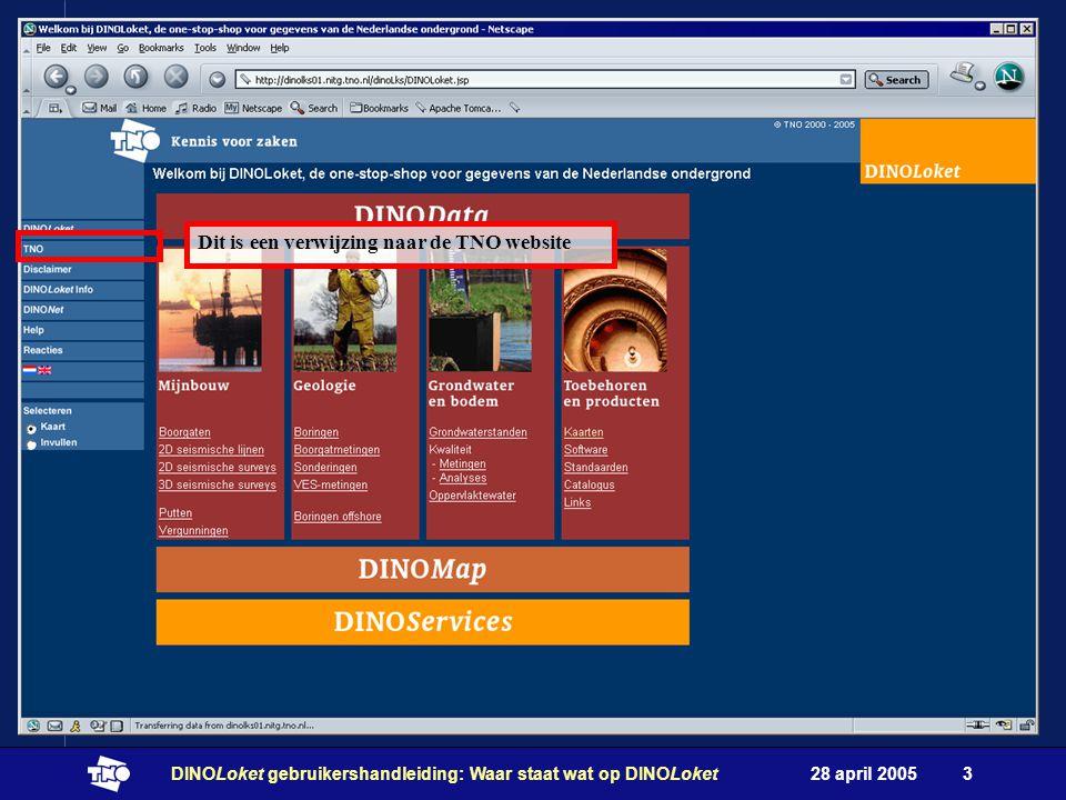 28 april 2005DINOLoket gebruikershandleiding: Waar staat wat op DINOLoket3 Dit is een verwijzing naar de TNO website