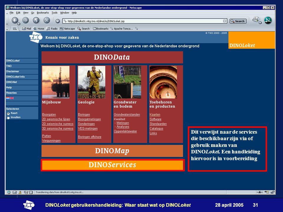 28 april 2005DINOLoket gebruikershandleiding: Waar staat wat op DINOLoket31 Dit verwijst naar de services die beschikbaar zijn via of gebruik maken van DINOLoket.