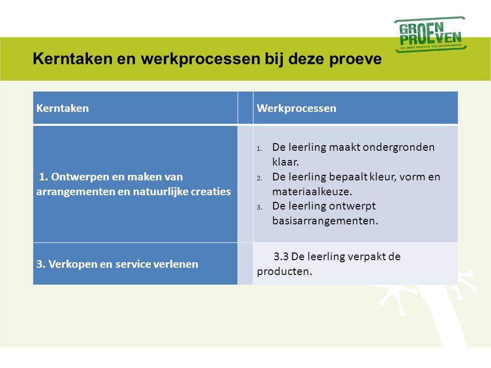Kerntaken en werkprocessen bij deze proeve Kerntaken Werkprocessen 1. Ontwerpen en maken van arrangementen en natuurlijke creaties 1.De leerling maakt