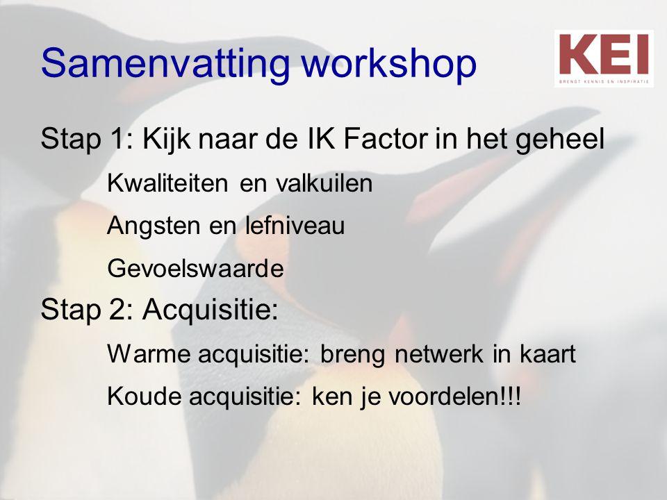 Samenvatting workshop Stap 1: Kijk naar de IK Factor in het geheel Kwaliteiten en valkuilen Angsten en lefniveau Gevoelswaarde Stap 2: Acquisitie: War