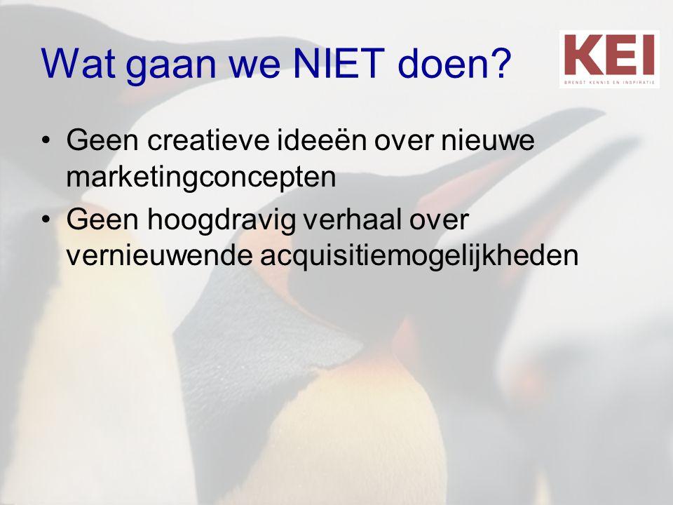 Wat gaan we NIET doen? •Geen creatieve ideeën over nieuwe marketingconcepten •Geen hoogdravig verhaal over vernieuwende acquisitiemogelijkheden