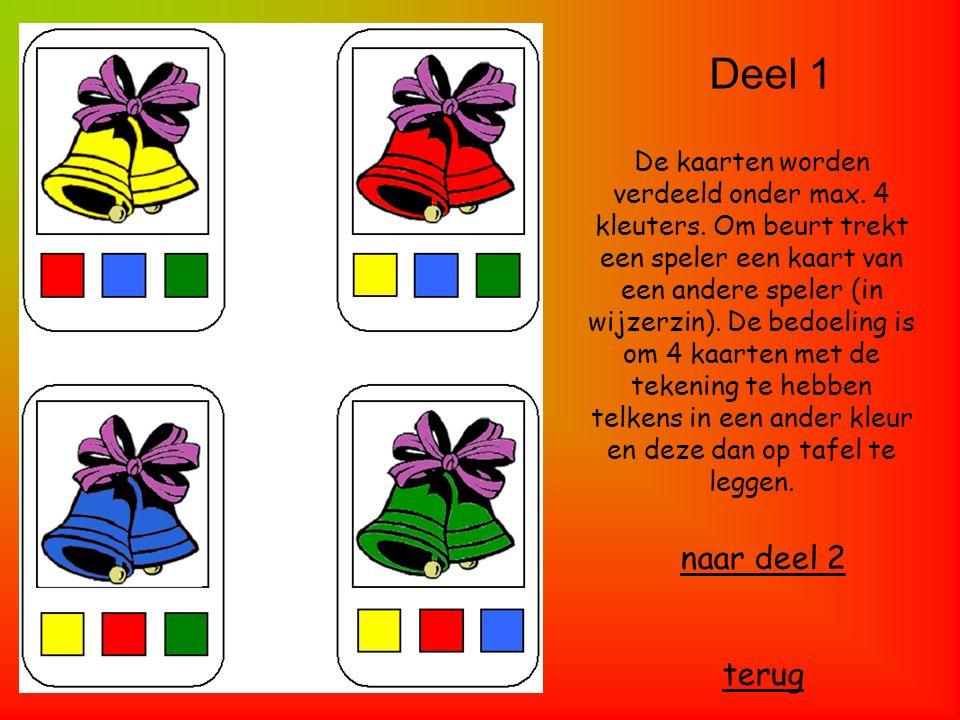 Deel 1 naar deel 2 terug De kaarten worden verdeeld onder max. 4 kleuters. Om beurt trekt een speler een kaart van een andere speler (in wijzerzin). D