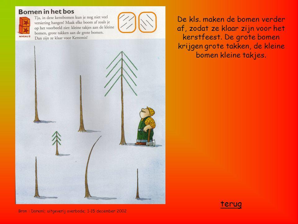 Bron : Doremi; uitgeverij averbode; 1-15 december 2002 De kls. maken de bomen verder af, zodat ze klaar zijn voor het kerstfeest. De grote bomen krijg