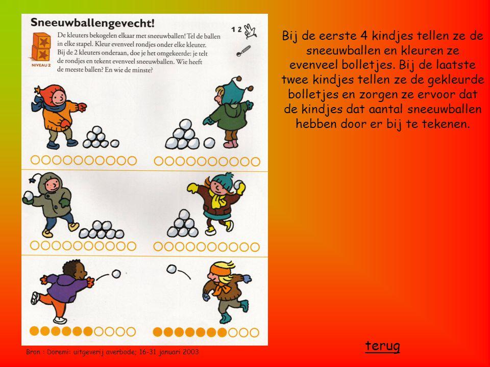 Bron : Doremi: uitgeverij averbode; 16-31 januari 2003 Bij de eerste 4 kindjes tellen ze de sneeuwballen en kleuren ze evenveel bolletjes. Bij de laat