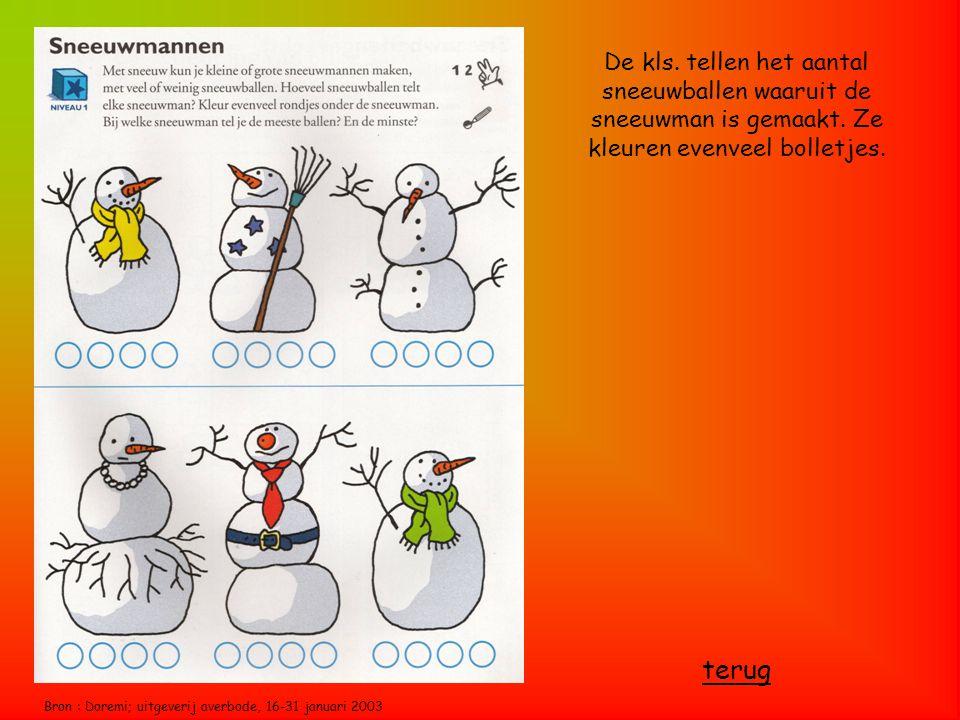 Bron : Doremi; uitgeverij averbode, 16-31 januari 2003 De kls. tellen het aantal sneeuwballen waaruit de sneeuwman is gemaakt. Ze kleuren evenveel bol