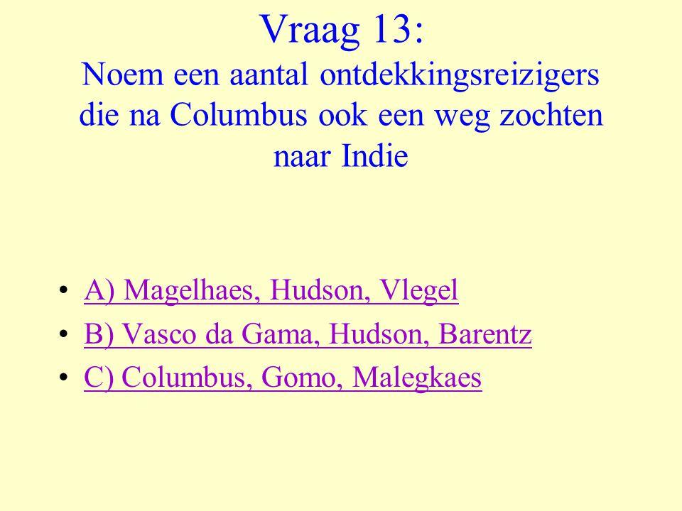 Vraag 13: Noem een aantal ontdekkingsreizigers die na Columbus ook een weg zochten naar Indie •A) Magelhaes, Hudson, VlegelA) Magelhaes, Hudson, Vlege