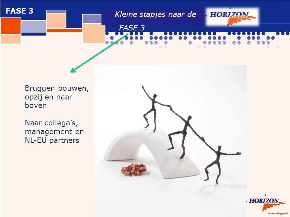 Kleine stapjes naar de Bruggen bouwen, opzij en naar boven Naar collega's, management en NL-EU partners FASE 3