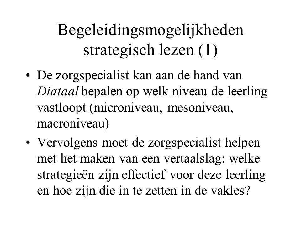 Begeleidingsmogelijkheden strategisch lezen (1) •De zorgspecialist kan aan de hand van Diataal bepalen op welk niveau de leerling vastloopt (micronive