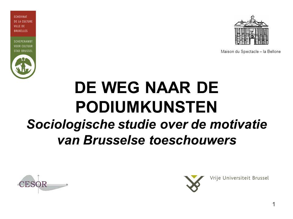 1 DE WEG NAAR DE PODIUMKUNSTEN Sociologische studie over de motivatie van Brusselse toeschouwers Maison du Spectacle – la Bellone