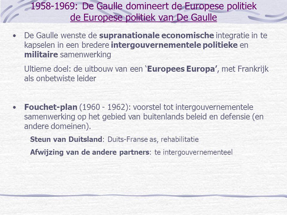 1958-1969: De Gaulle domineert de Europese politiek de Europese politiek van De Gaulle •De Gaulle wenste de supranationale economische integratie in t