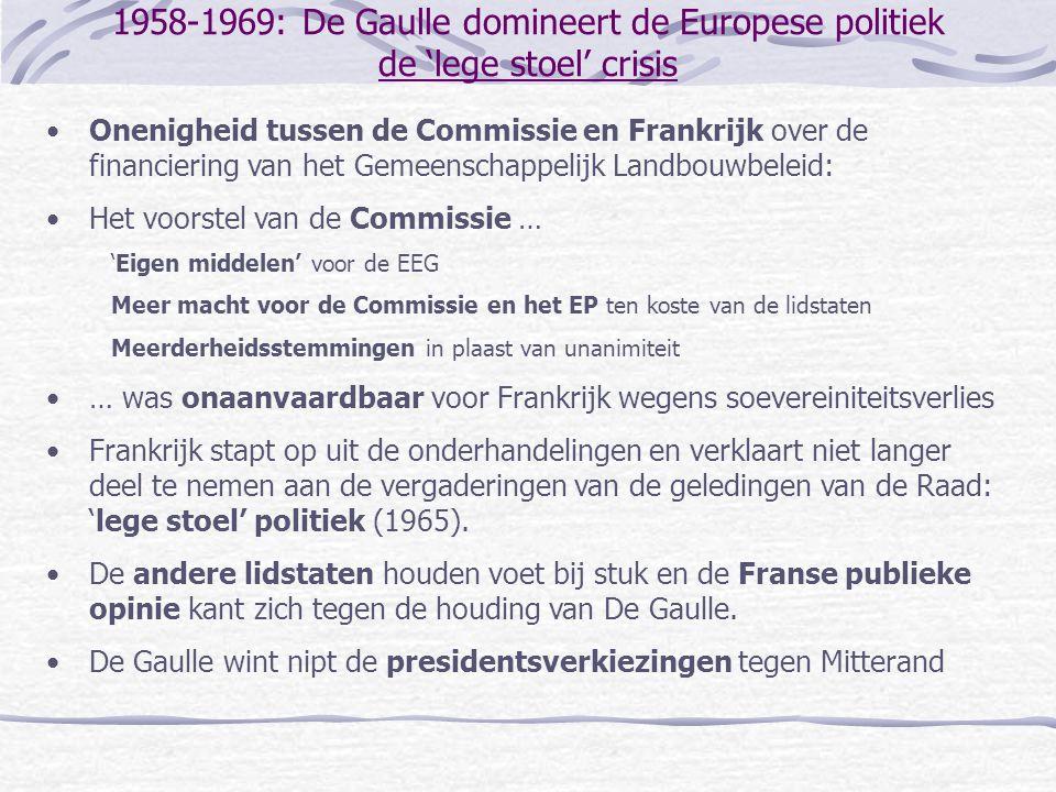 1958-1969: De Gaulle domineert de Europese politiek de 'lege stoel' crisis •Onenigheid tussen de Commissie en Frankrijk over de financiering van het G