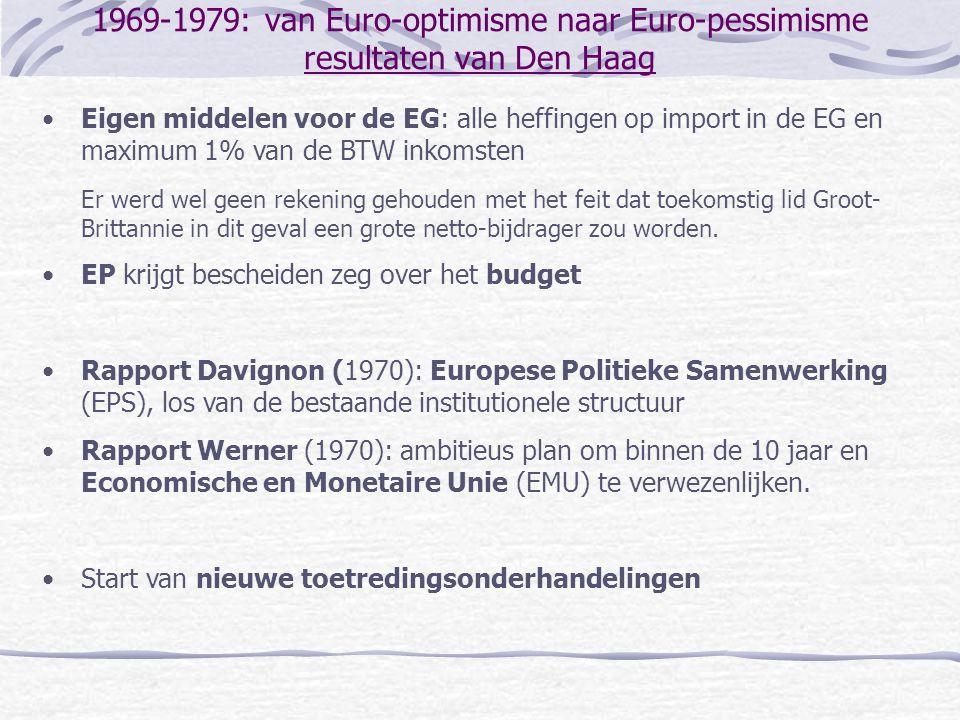 1969-1979: van Euro-optimisme naar Euro-pessimisme resultaten van Den Haag •Eigen middelen voor de EG: alle heffingen op import in de EG en maximum 1%
