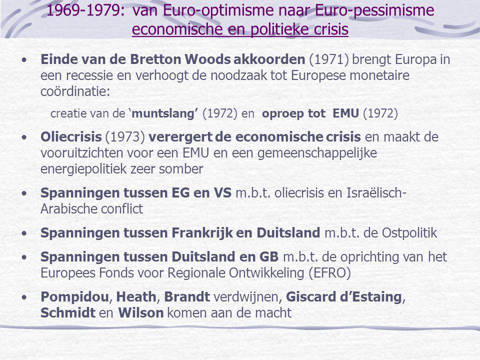 1969-1979: van Euro-optimisme naar Euro-pessimisme economische en politieke crisis •Einde van de Bretton Woods akkoorden (1971) brengt Europa in een r