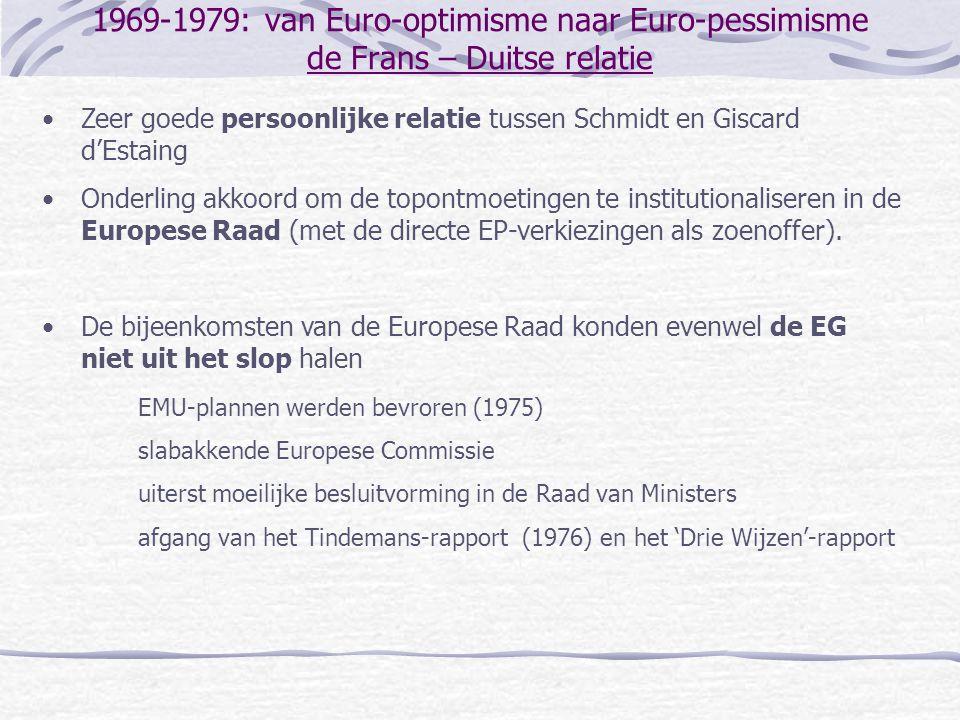 1969-1979: van Euro-optimisme naar Euro-pessimisme de Frans – Duitse relatie •Zeer goede persoonlijke relatie tussen Schmidt en Giscard d'Estaing •Ond