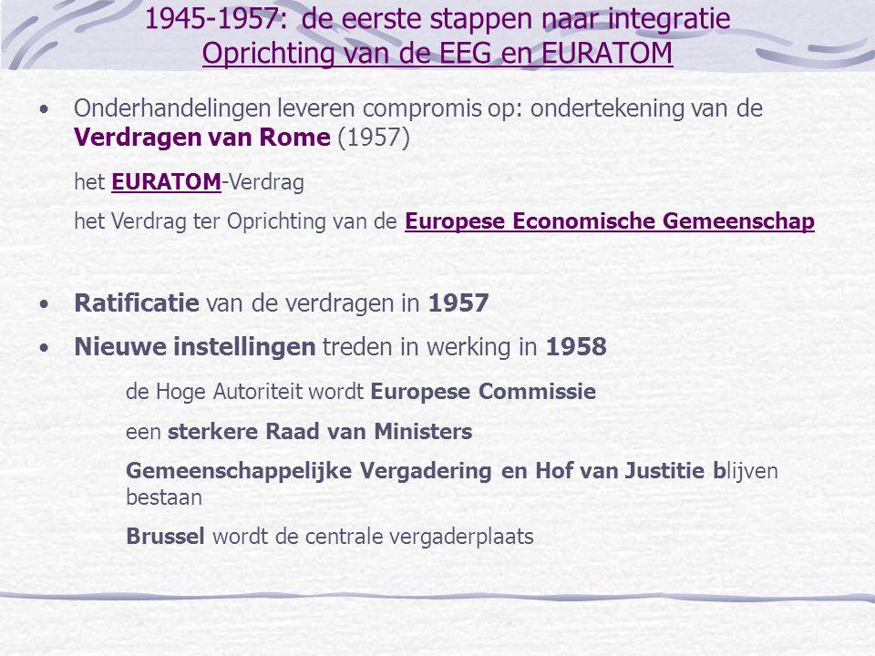 1969-1979: van Euro-optimisme naar Euro-pessimisme eerste uitbreiding •Groot-Brittannië Heath vraagt het lidmaatschap opnieuw aan (1970) Politieke elites in GB nog steeds diep verdeeld Onderhandelingen in 1970-1971 gaan vooral over landbouw en het budget Frans referendum aanvaardt de Britse toetreding (1972) Britse ratificatie van het toetredingsverdrag in 1972 •Noorwegen Referendum verwerpt de toetreding (53.5% tegen): landbouw, visserij, olie •Denemarken Referendum aanvaardt de toetreding (63% vóór), maar scepticisme blijft •Ierland Referendum aanvaardt de toetreding (83% vóór), begin van succesverhaal •Groot-Brittannië, Ierland en Denemarken worden lid in 1973