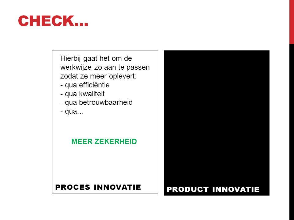 CHECK… PROCES INNOVATIE PRODUCT INNOVATIE Hierbij gaat het om de werkwijze zo aan te passen zodat ze meer oplevert: - qua efficiëntie - qua kwaliteit - qua betrouwbaarheid - qua… MEER ZEKERHEID