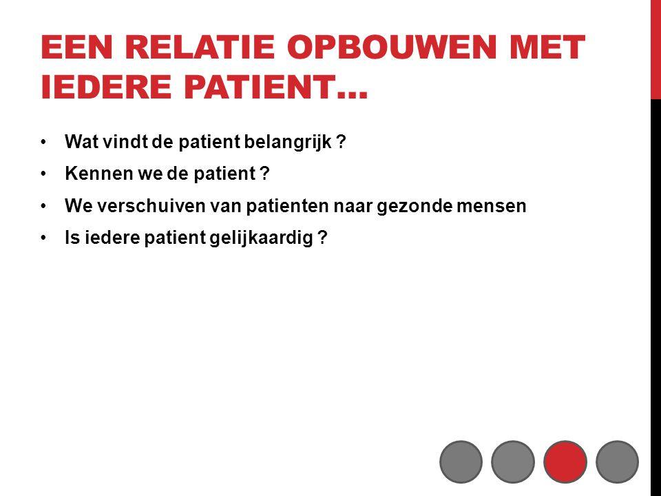 EEN RELATIE OPBOUWEN MET IEDERE PATIENT… •Wat vindt de patient belangrijk .