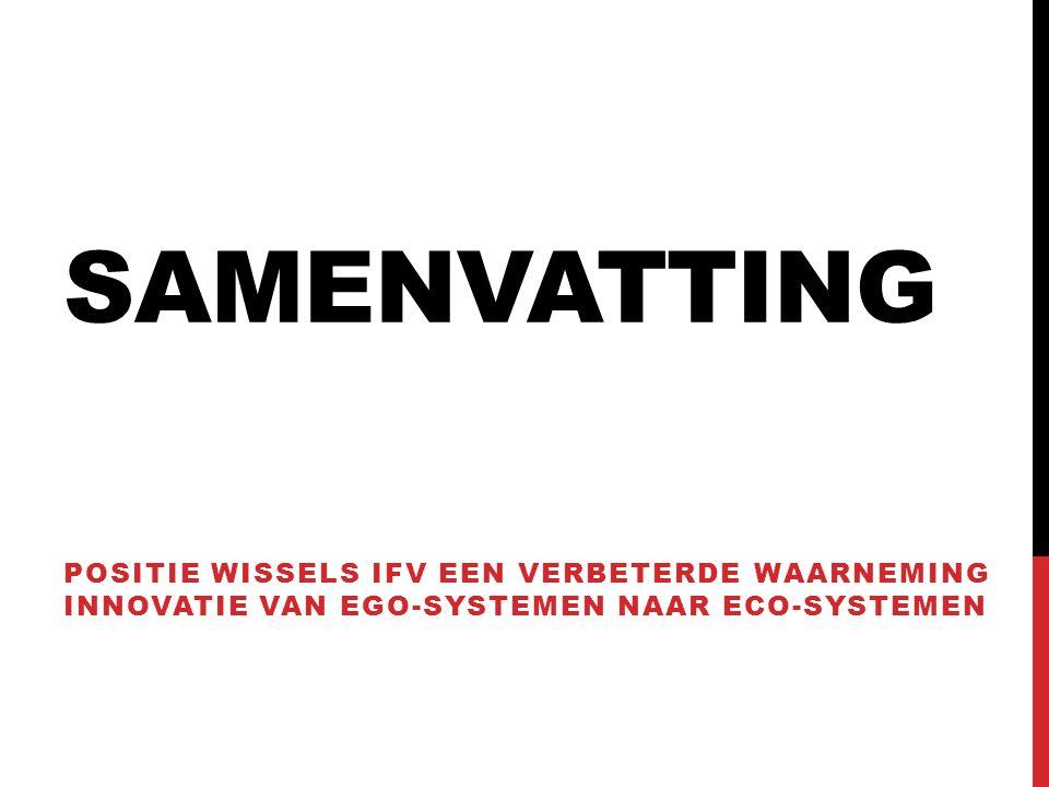 SAMENVATTING POSITIE WISSELS IFV EEN VERBETERDE WAARNEMING INNOVATIE VAN EGO-SYSTEMEN NAAR ECO-SYSTEMEN