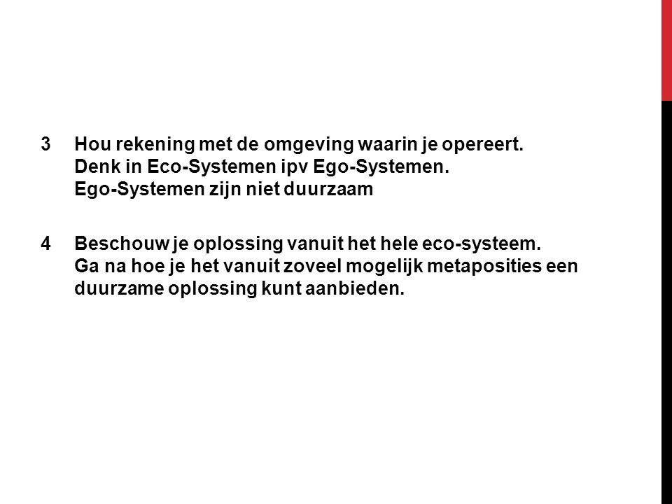 3Hou rekening met de omgeving waarin je opereert.Denk in Eco-Systemen ipv Ego-Systemen.