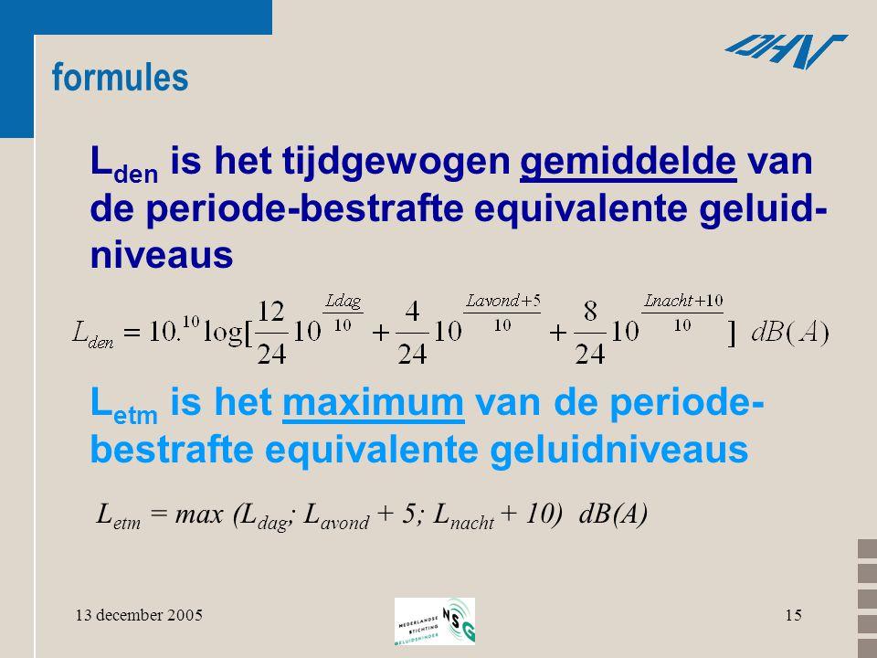 13 december 200515 formules L den is het tijdgewogen gemiddelde van de periode-bestrafte equivalente geluid- niveaus L etm is het maximum van de perio