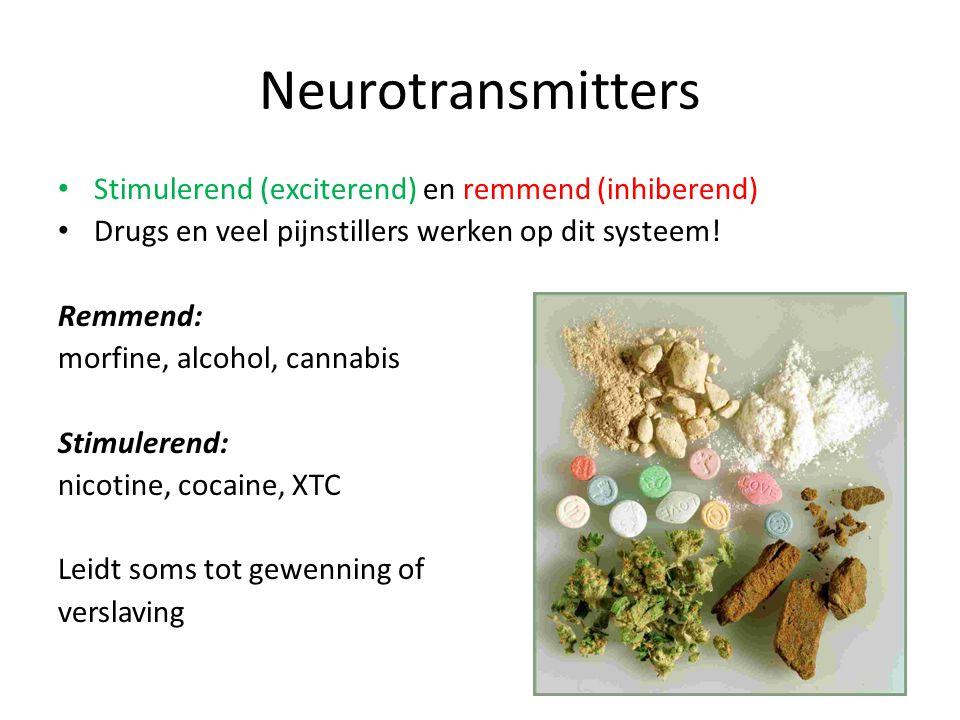 Neurotransmitters • Stimulerend (exciterend) en remmend (inhiberend) • Drugs en veel pijnstillers werken op dit systeem! Remmend: morfine, alcohol, ca