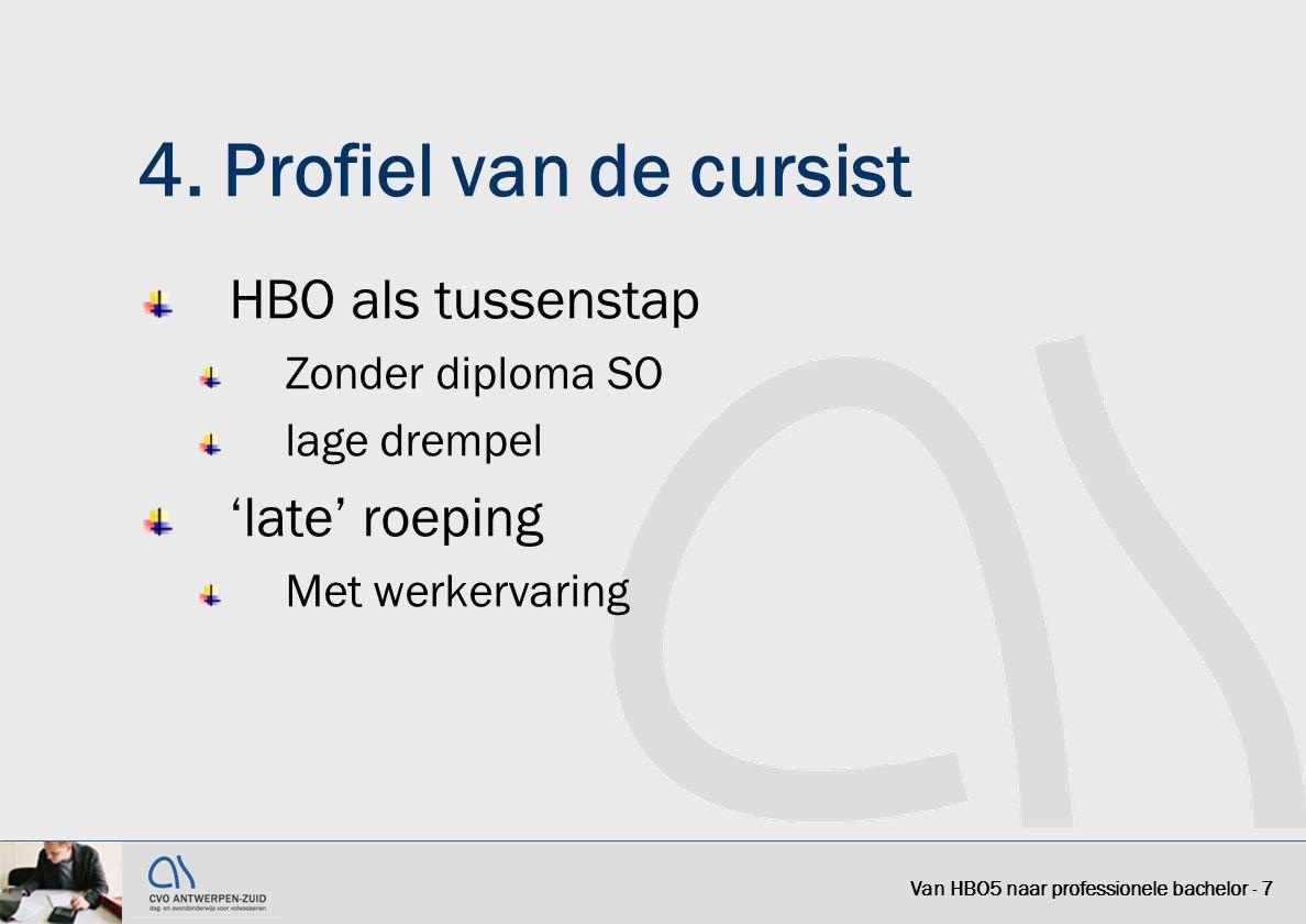 4. Profiel van de cursist HBO als tussenstap Zonder diploma SO lage drempel 'late' roeping Met werkervaring Van HBO5 naar professionele bachelor - 7