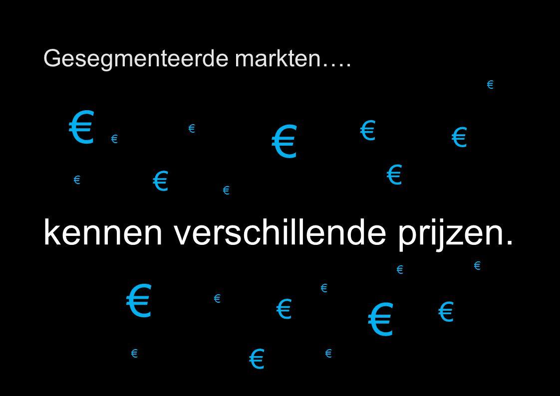 16 Gesegmenteerde markten…. kennen verschillende prijzen. € € € € € € € € € € € € € € € € € € € € € €