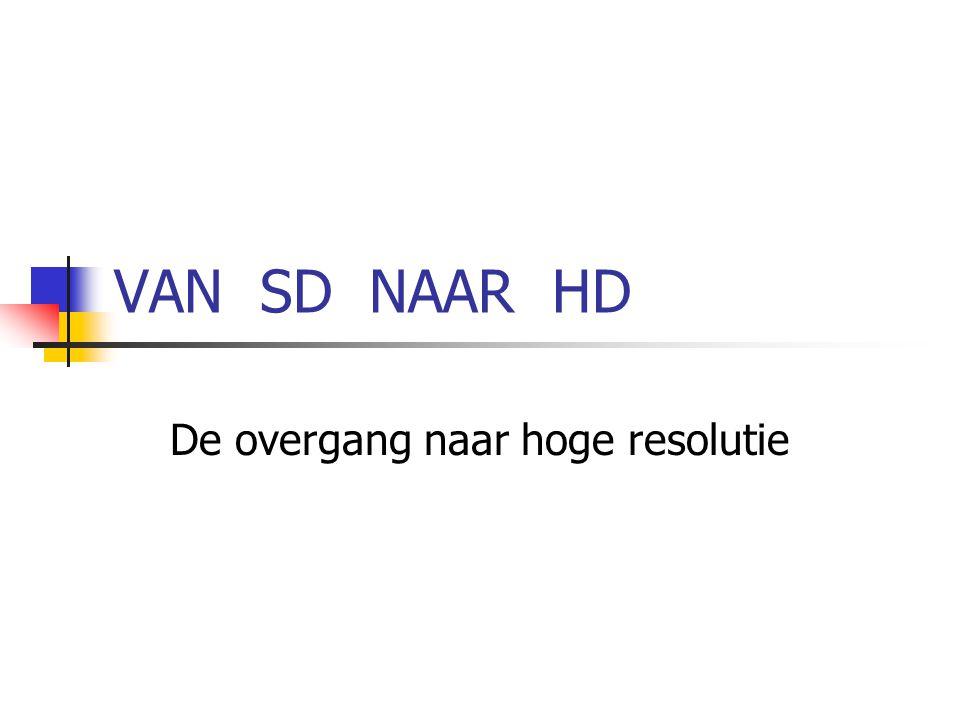 VAN SD NAAR HD De overgang naar hoge resolutie