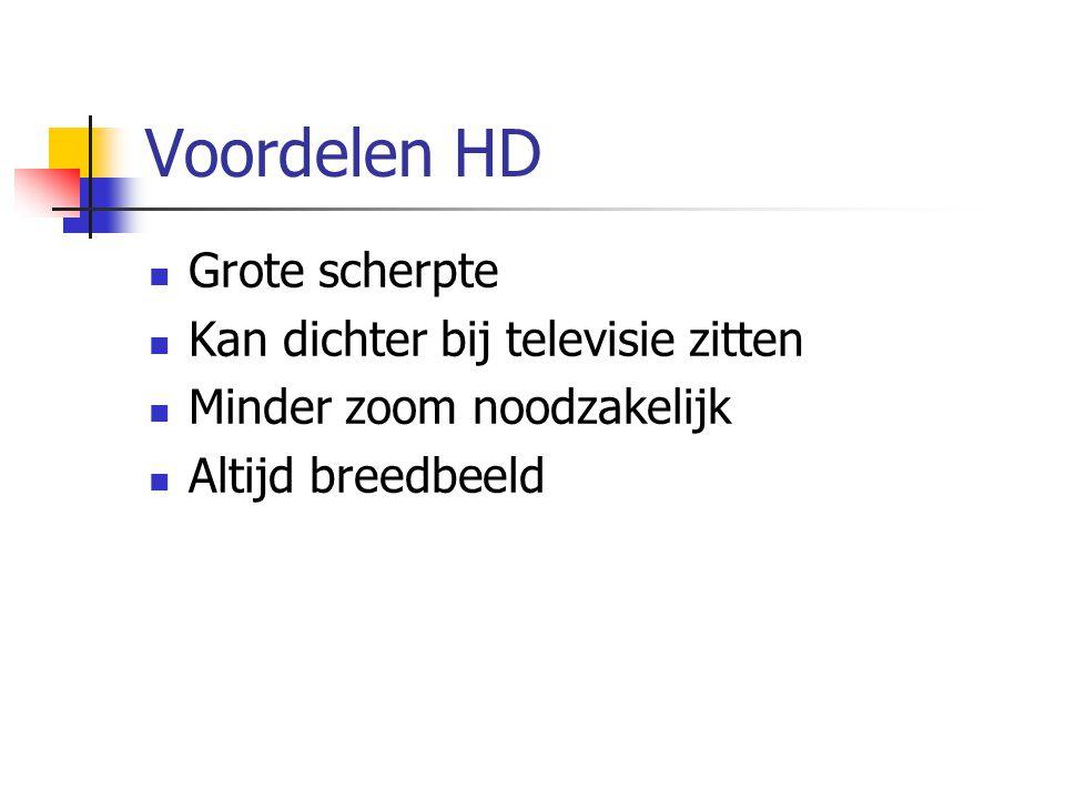Voordelen HD  Grote scherpte  Kan dichter bij televisie zitten  Minder zoom noodzakelijk  Altijd breedbeeld