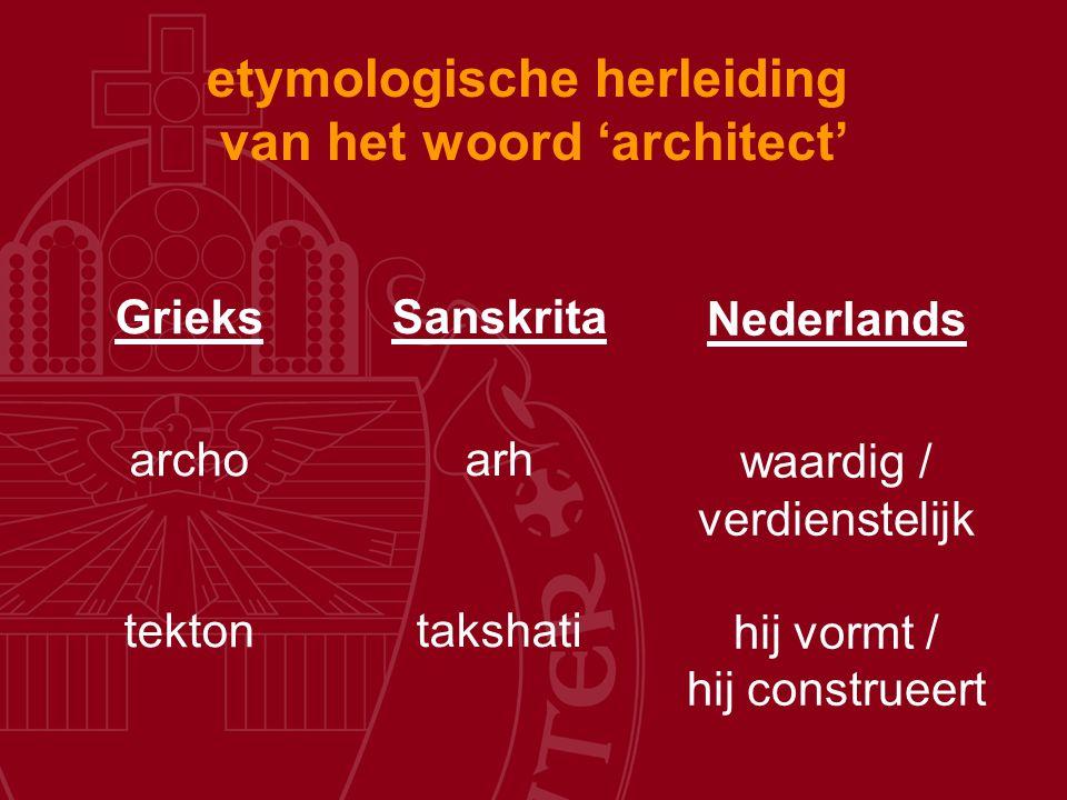 etymologische herleiding van het woord 'architect' Grieks archo tekton Sanskrita arh takshati Nederlands waardig / verdienstelijk hij vormt / hij cons