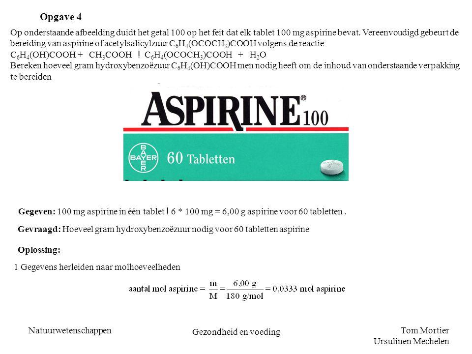 Tom Mortier Ursulinen Mechelen Natuurwetenschappen Gezondheid en voeding Op onderstaande afbeelding duidt het getal 100 op het feit dat elk tablet 100