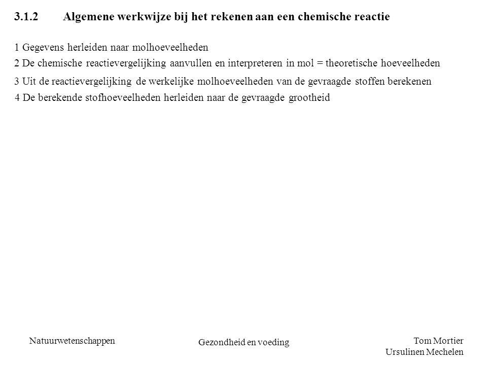 Tom Mortier Ursulinen Mechelen Natuurwetenschappen Gezondheid en voeding 3.1.2Algemene werkwijze bij het rekenen aan een chemische reactie 4 De bereke