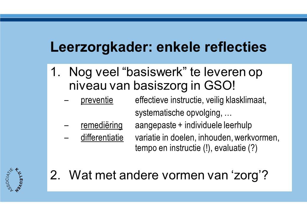 """Leerzorgkader: enkele reflecties 1.Nog veel """"basiswerk"""" te leveren op niveau van basiszorg in GSO! –preventie effectieve instructie, veilig klasklimaa"""