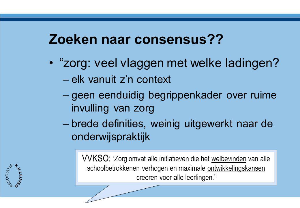 """Zoeken naar consensus?? •""""zorg: veel vlaggen met welke ladingen? –elk vanuit z'n context –geen eenduidig begrippenkader over ruime invulling van zorg"""