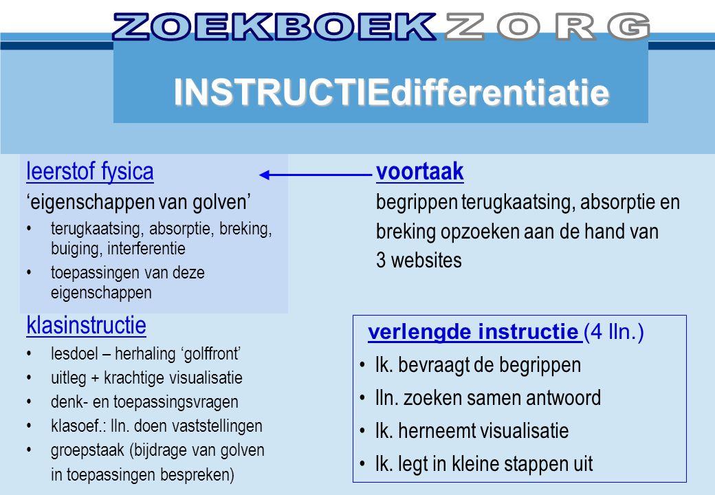 INSTRUCTIEdifferentiatie leerstof fysica 'eigenschappen van golven' •terugkaatsing, absorptie, breking, buiging, interferentie •toepassingen van deze