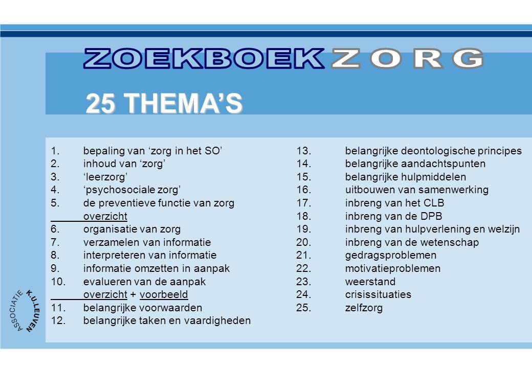 1.bepaling van 'zorg in het SO'13. belangrijke deontologische principes 2.inhoud van 'zorg'14. belangrijke aandachtspunten 3.'leerzorg'15. belangrijke
