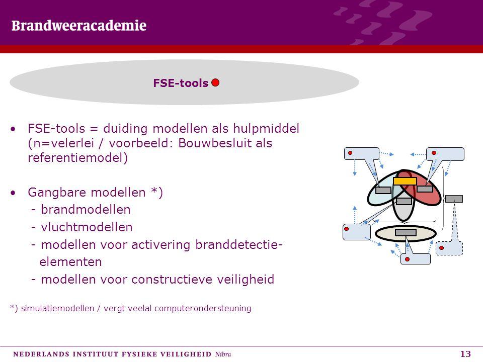 13 •FSE-tools = duiding modellen als hulpmiddel (n=velerlei / voorbeeld: Bouwbesluit als referentiemodel) •Gangbare modellen *) - brandmodellen - vluc