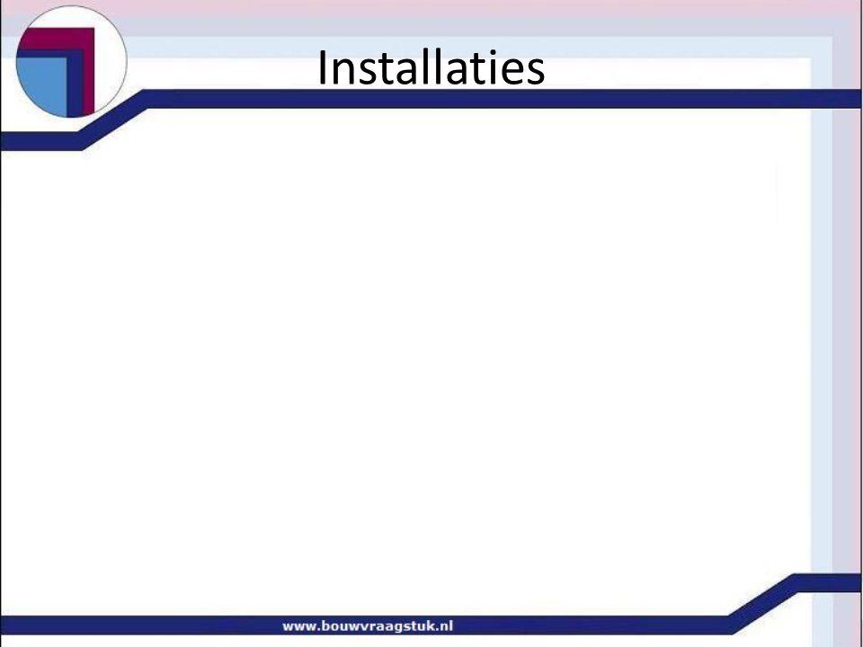 Installaties • Boiler versus zonnecollectoren • berekening energie inhoud tbv warmtapwater • voorraadvat 80 l • temperatuur 10°C  60°C • opwarmtijd 4 uur elektrische boiler • W = V * ρ * c * ΔT => • W = 80/1000*1000*4200*50 • W = 16.800.000 J => 16,8 MJ