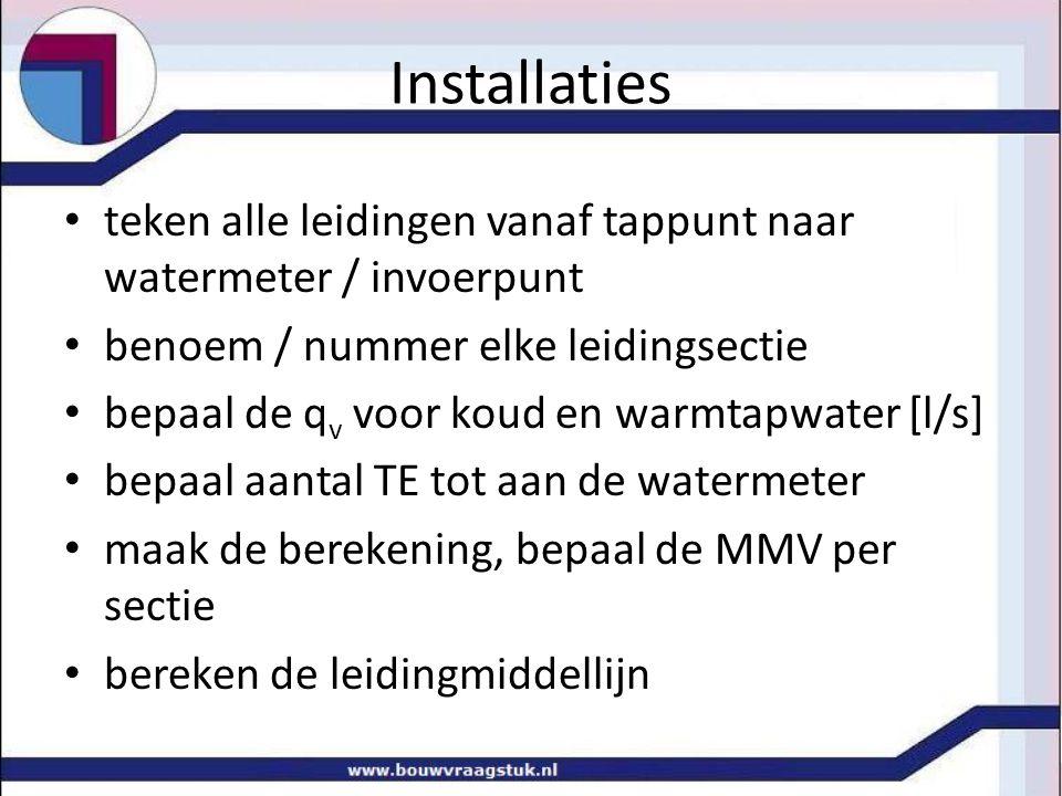 Installaties • teken alle leidingen vanaf tappunt naar watermeter / invoerpunt • benoem / nummer elke leidingsectie • bepaal de q v voor koud en warmt
