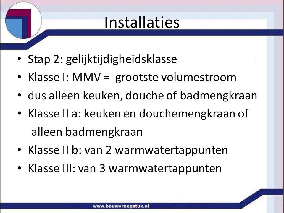 Installaties • Stap 3: bijtelling tapeenheden warmtapwater • volumestromen en watertemperatuur • bepalen van mengvolumestroom aan tappunt • Bepalen totale MMV voor omrekenen • bijtelling TE: (q v / 0.083) 2 9 = (0.250/0.083) 2 • Bepaal aantal TE per leidingsectie • Omreken van TE naar MMV: 0.083√ TE = …l/s
