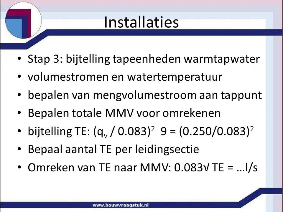 Installaties • Stap 3: bijtelling tapeenheden warmtapwater • volumestromen en watertemperatuur • bepalen van mengvolumestroom aan tappunt • Bepalen to