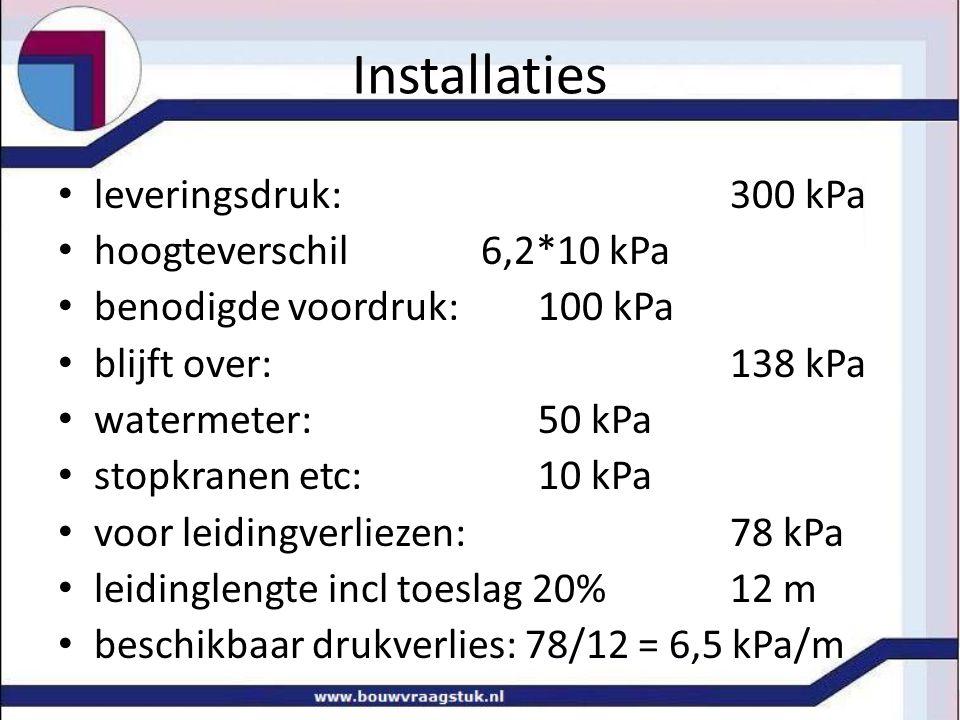 Installaties • leveringsdruk: 300 kPa • hoogteverschil 6,2*10 kPa • benodigde voordruk: 100 kPa • blijft over: 138 kPa • watermeter: 50 kPa • stopkran