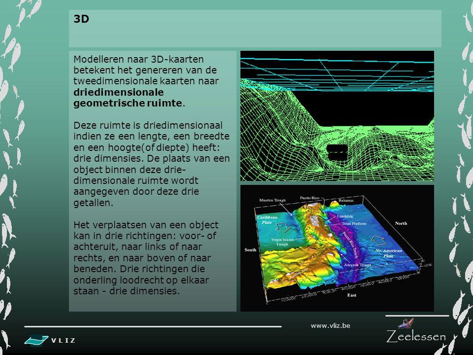 V L I Z www.vliz.be Zeelessen 4. TERREIN MODELLING 1. BATHYMETRISCHE KAART VAN ONDERZOEKSGEBIED 2. DIGITAAL TERREINMODEL VAN ONDERZOEKSGEBIED