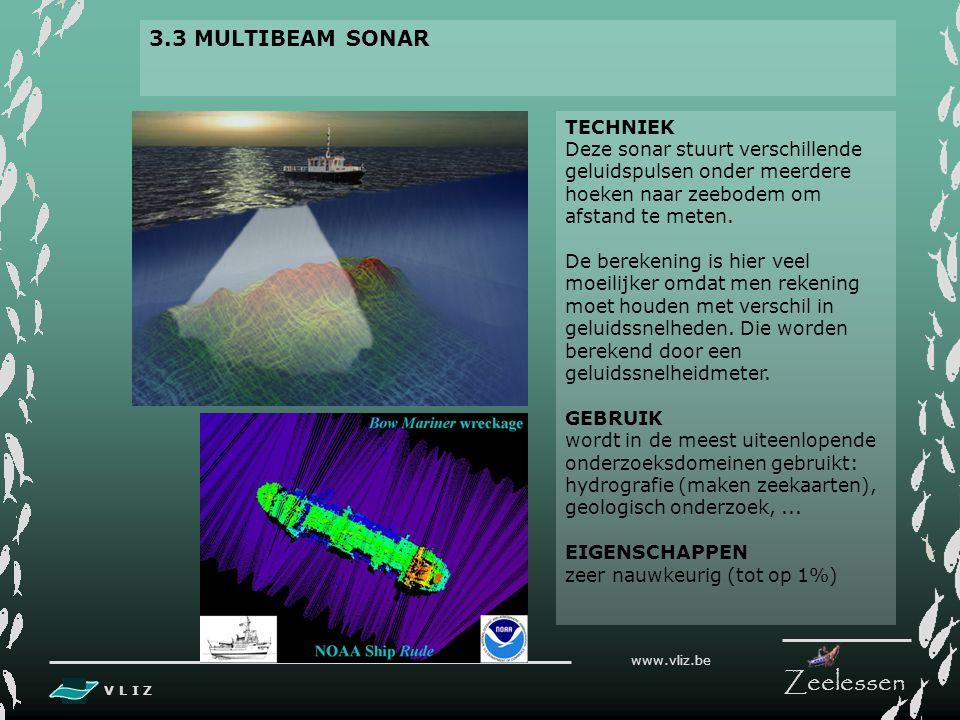 V L I Z www.vliz.be Zeelessen 3.2 SINGLEBEAM SONAR TECHNIEK sonar stuurt verticale geluidspulsen naar zeebodem om afstand tot bodem of object te meten