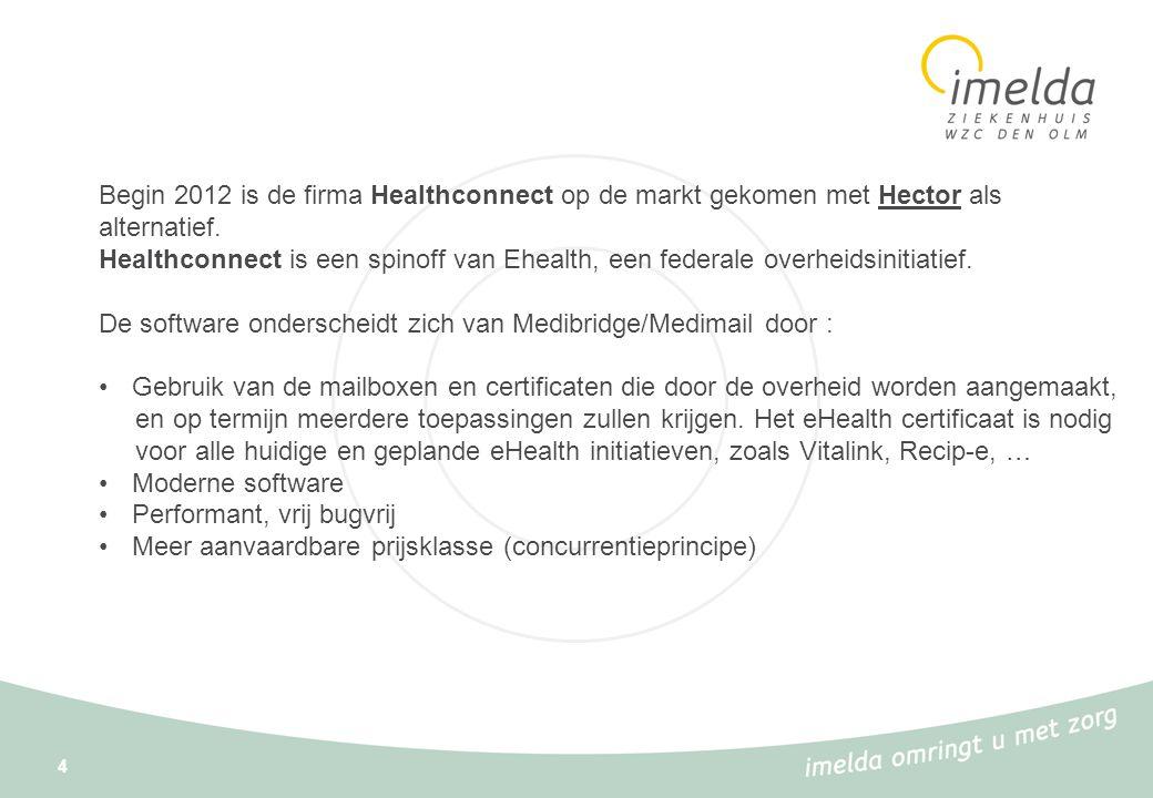 4 Begin 2012 is de firma Healthconnect op de markt gekomen met Hector als alternatief. Healthconnect is een spinoff van Ehealth, een federale overheid