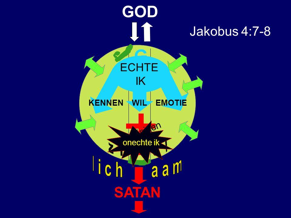 SATAN GOD G VLEESVLEES EESTEEST Jakobus 4:7-8 kruisigen ECHTE IK onechte ik KENNEN WIL EMOTIE